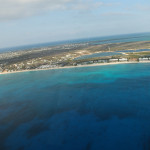 Aerial view Seven Mile Beach in Grand Cayman